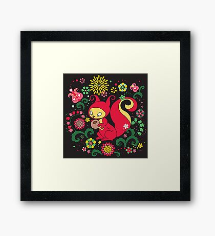 RED Squirrel with Nut. Russian Background. BLACK.  Framed Print