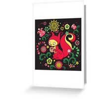 RED Squirrel with Nut. Russian Background. BLACK.  Greeting Card
