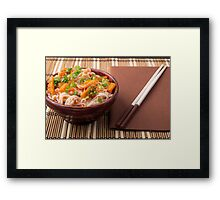 Small portion of rice vermicelli hu-teu with vegetable sauce Framed Print