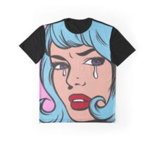 Blue Curl Crying Comic Girl Graphic T-Shirt
