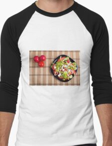 Top view on a vegetable salad with natural ingredients Men's Baseball ¾ T-Shirt
