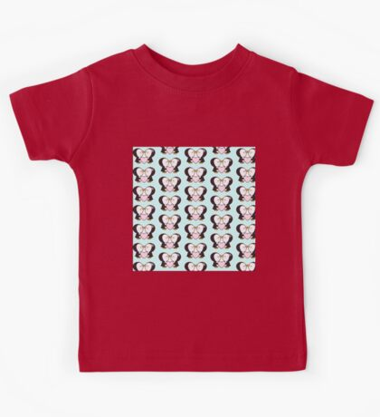 Cute pinguins,pinguins in love,kissing,heart,pink,mint,white,black Kids Tee