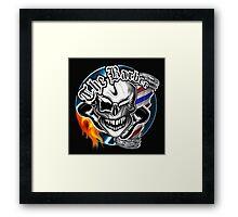 Barber Skull with Flaming Razor Framed Print