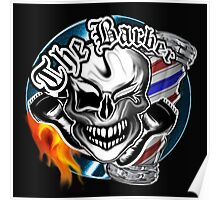 Barber Skull with Flaming Razor Poster