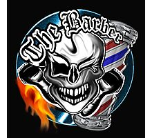 Barber Skull with Flaming Razor Photographic Print