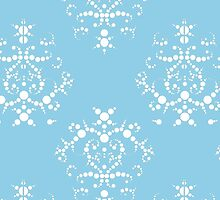 French Damask, Ornaments, Swirls - Blue White by sitnica