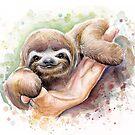 Baby Sloth Watercolor | Animal Art by OlechkaDesign