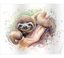 Baby Sloth Watercolor | Animal Art Poster