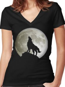 Super Moon and Wolf t-shirts Women's Fitted V-Neck T-Shirt
