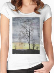 Winter Sunset Skies Women's Fitted Scoop T-Shirt
