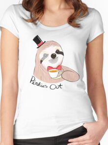 Pinkies Out Sloth Women's Fitted Scoop T-Shirt