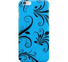 French Damask, Ornaments, Swirls - Blue Black iPhone Case/Skin