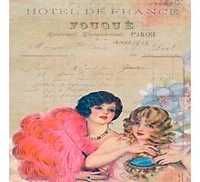 Paris,french,vintage,victorian,beautiful belles,ladies,collage,typography,parchment Photographic Print