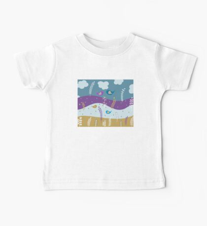 Cute Birds Illustration Baby Tee