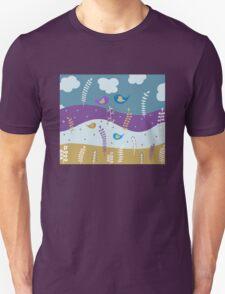 Cute Birds Illustration Unisex T-Shirt