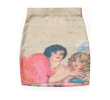 Paris,french,vintage,victorian,beautiful belles,ladies,collage,typography,parchment Mini Skirt