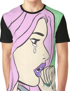 Pastel Pink Crying Comic Girl Graphic T-Shirt