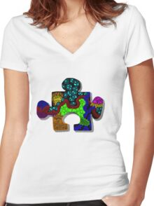 Piece of the Puzzle Women's Fitted V-Neck T-Shirt