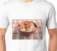 Thin spaghetti with tomato relish and basil leaves Unisex T-Shirt