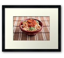 Thin spaghetti with tomato relish and basil leaves Framed Print