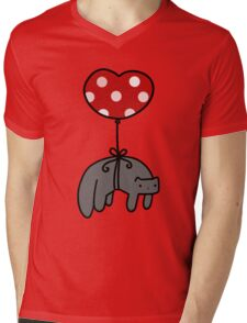 Heart Balloon Cat Mens V-Neck T-Shirt