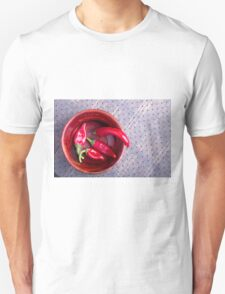 Top view of the fruits of of hot red chili peppers Unisex T-Shirt