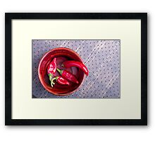 Top view of the fruits of of hot red chili peppers Framed Print