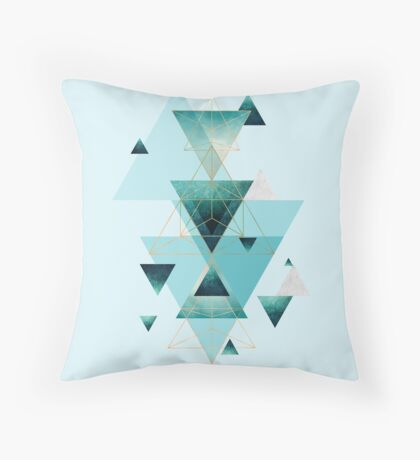 Geometric Triangle Compilation in teal, aqua and rose gold Throw Pillow