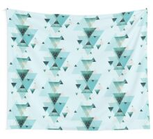 Geometric Triangle Compilation in teal, aqua and rose gold Wall Tapestry