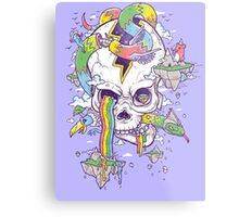 Flying Rainbow skull Island Metal Print