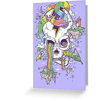 Flying Rainbow skull Island Greeting Card
