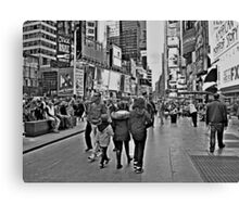 People in Times Square, New York City in B&W Canvas Print
