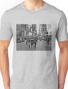 People in Times Square, New York City in B&W Unisex T-Shirt
