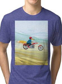 Fox-Man on a Red Motorcycle Tri-blend T-Shirt
