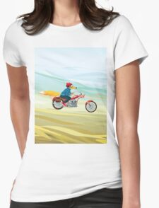 Fox-Man on a Red Motorcycle Womens Fitted T-Shirt