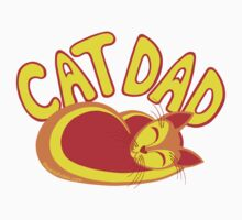 Cat Dad Orange Yellow Red Cute Cat Lover Design One Piece - Short Sleeve