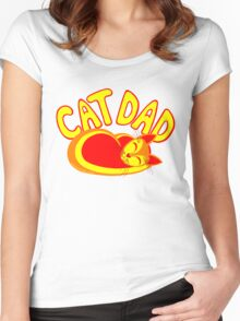 Cat Dad Orange Yellow Red Cute Cat Lover Design Women's Fitted Scoop T-Shirt