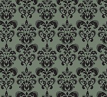 Venetian Damask, Ornaments, Swirls - Gray Black by sitnica