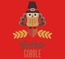 Thanksgiving Owl in Turkey Costume and Pilgrim Hat One Piece - Long Sleeve