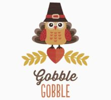 Thanksgiving Owl in Turkey Costume and Pilgrim Hat One Piece - Short Sleeve
