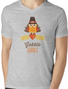 Thanksgiving Owl in Turkey Costume and Pilgrim Hat Mens V-Neck T-Shirt