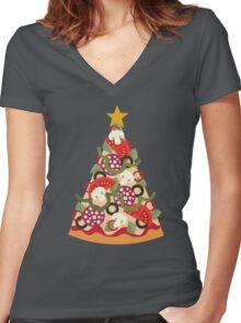 Pizza on Earth - Pepperoni Women's Fitted V-Neck T-Shirt