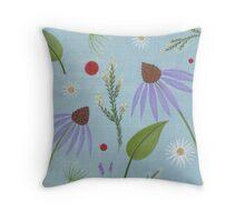 Echinacea Lavendar Daisy A Throw Pillow