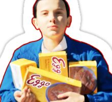 Eleven With Her Waffles on Stranger things Sticker