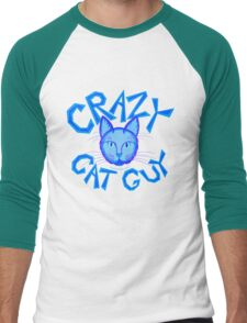 Crazy Cat Guy Funny Blue Cartoon Cat Lover Design Men's Baseball ¾ T-Shirt