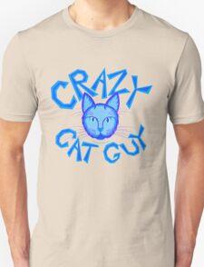 Crazy Cat Guy Funny Blue Cartoon Cat Lover Design Unisex T-Shirt