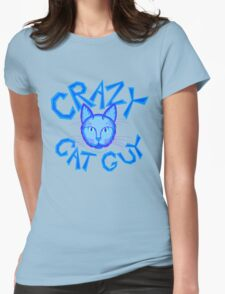 Crazy Cat Guy Funny Blue Cartoon Cat Lover Design Womens Fitted T-Shirt