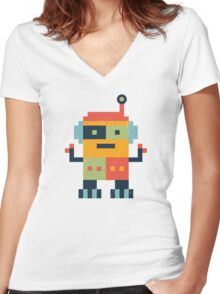 Happy Robot Women's Fitted V-Neck T-Shirt