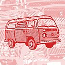 Red Bay Campervan Dub-U King Size Duvet (please see description), Pillow and Tote  by Ra12