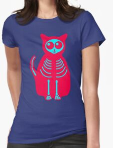 Skull Cat Womens Fitted T-Shirt